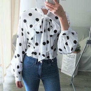 Large bow puffy sleeve polka dot retro blouse